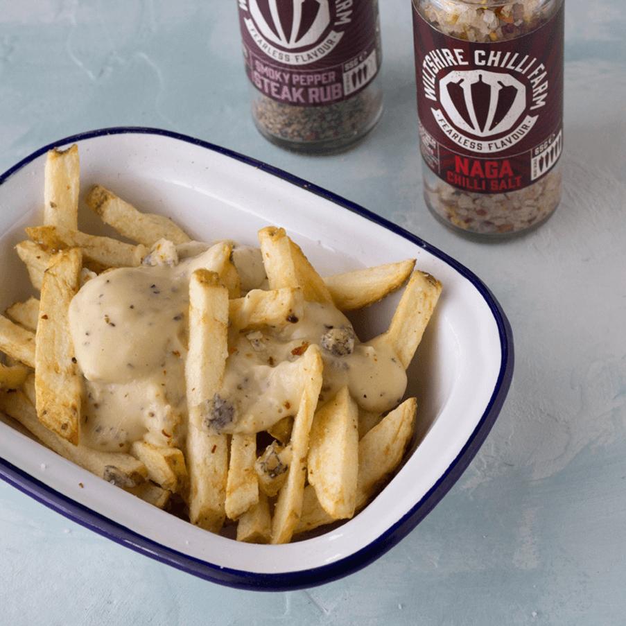 Wiltshire Chilli Farm - Steak Rub - Naga Chilli Salt - Cheesy Chips