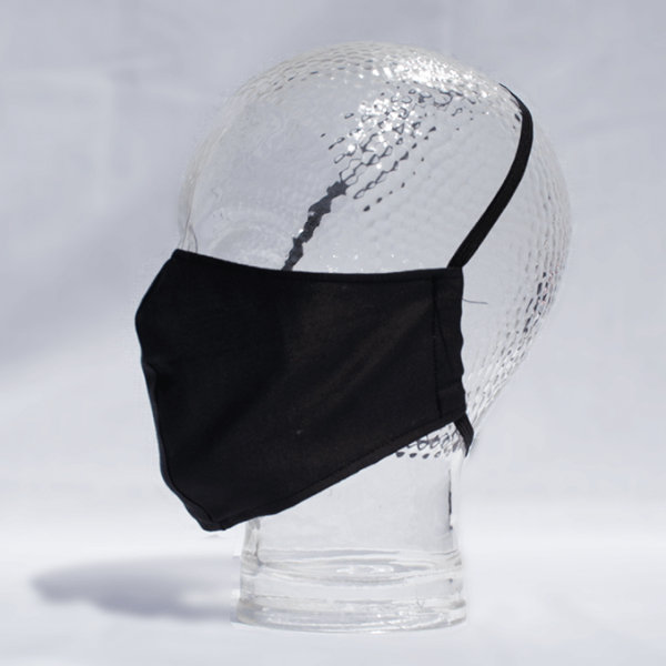 Shaped Washable 100% Cotton Facemask - Black
